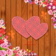 Valentine on a wooden texture — Stock Vector