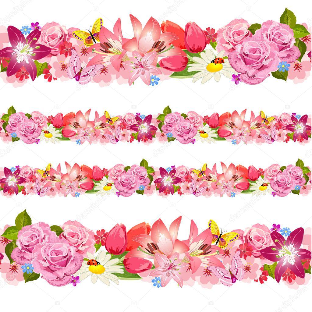 Seamless border of beauty flowers Set Stock Vector