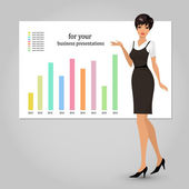 Business woman presenting — Stock Vector