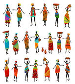 Set of isolated beautiful African women — Stock Vector