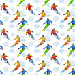 Skiers. Seamless texture watercolor — Stock Photo