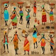 Vintage background with beautiful African women — Stok Vektör
