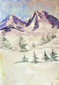 Winter mountain landscape. watercolor — Stock Photo