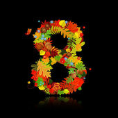 Beautiful autumn leaves. number 8 — Stock Vector