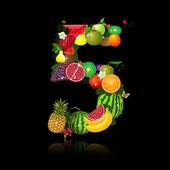 Soczyste owoce w postaci liczby 5 — Wektor stockowy