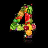 Suco de frutas em forma de número 4 — Vetorial Stock