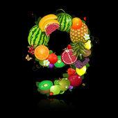 Suco de frutas em forma de número 9 — Vetorial Stock