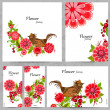 Collection of floral greeting cards — Stock Vector