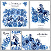 Collection of floral greeting cards — Stockvektor