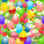 Easter seamless texture with eggs — Vector de stock