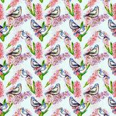 Flores com pássaros — Foto Stock