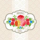 старинные цветочные этикетка — Cтоковый вектор