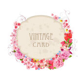 Etiqueta floral vintage — Vector de stock