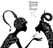 2015 year of goat and scorpio — Stock Vector