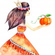 Girl with pumpkin — Stock Photo #51441989