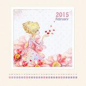 календарь февраль 2015 — Стоковое фото