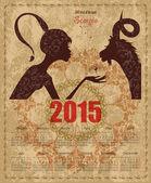 Goat and Zodiac sign scorpio — Stok Vektör