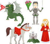Knight rescues the princess — Stock Vector