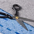 Stock Photo: Sharp scissors against a fabric