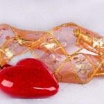 两颗心和磁带的形式在装饰 — 图库照片