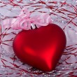 Christmas red heart with tape — Stock Photo