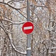 No Entry Traffic Road Sign, snow winter on background — Stock Photo