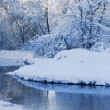 The winter river in a strong frost — Foto de Stock