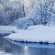 The winter river in a strong frost — Stock Photo