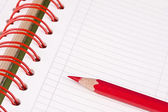 Daily planner with red pencil — Stok fotoğraf