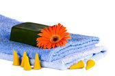 Blue towels, Flower, soap — Stock Photo