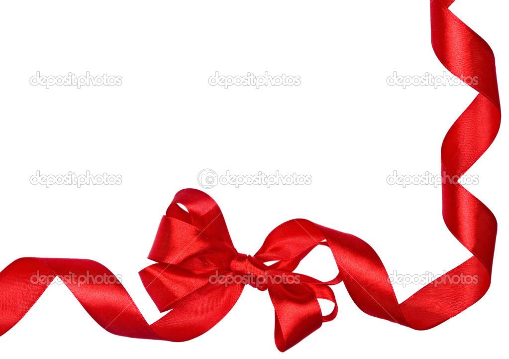 红色蝴蝶结丝带边框 - 图库图片