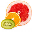 Grapefruit,orange,kiwi isolated — Stock Photo