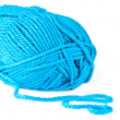 Stock Photo: Blue knitting on spokes large, isolated