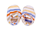 Striped bootees for the newborn — Stock Photo