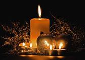 Christmas candle table setting — Stock Photo