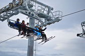 On the ski lift — Stockfoto