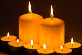Candles burning in the dark — Stock Photo