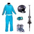 Set of things for downhill skiing — Stock Photo #27852407