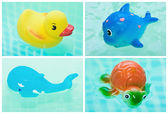 Toys for a bathroom in water, collage — Stock Photo