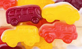 Fruit candy multi-colored cars — Stock Photo
