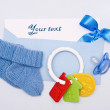 Card on a theme of the newborn in blue tones — Stock Photo #27885295