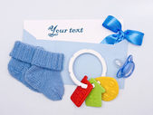 Card on a theme of the newborn in blue tones — Stock Photo