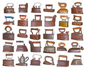 Collection, set of old irons on the white — Stock Photo