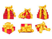Collection of boxes with the gifts, decorated with a bright tape on the white — Stock Photo