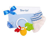 Card and things of newborn in blue tones — Stock Photo