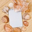 Notebook and cockleshell with an empty place for your text — Stock Photo #27891777