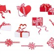 Set of gifts, bows and cards with hearts on the white — Stock Photo