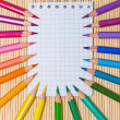 Notebook and color pencils. An empty place for your text. — Stock Photo #27894497