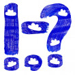 The blue punctuation marks drawn by paints with white cirri — Stock Photo #27894967