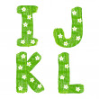 The letters I J K L drawn by paints with white blossom — Stock Photo